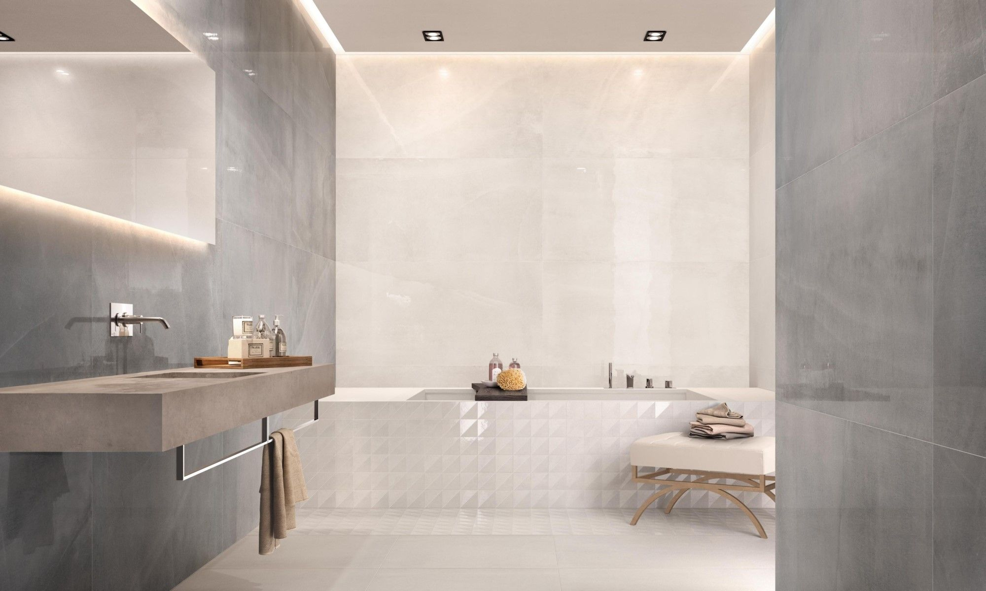 All Over White Lux All Grey Lux Bagno Hotel DD15